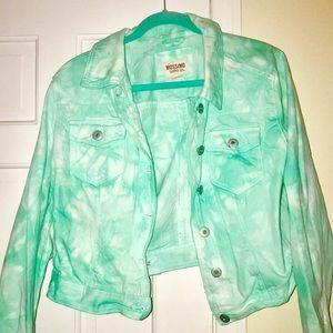 Tie Dye Teal Blue Green Denim Jacket